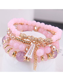 Fashion Pink Crystal Beads Multilayer Bracelet