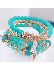 Fashion Green Crystal Beads Multilayer Bracelet