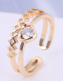 Fashion Gold Inlaid Zircon Love Opening Ring
