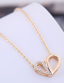 Fashion Gold Copper Micro Inlaid Double Heart Necklace