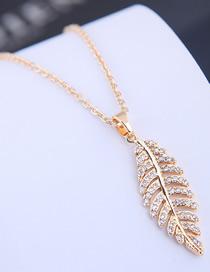 Fashion Gold Copper Micro Inlaid Zircon Leaf Necklace