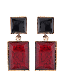Fashion Black + Red Metal Geometric Shape Contrast Earrings