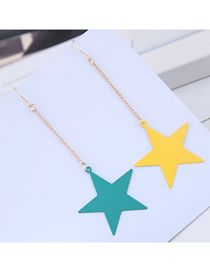 Fashion Yellow + Green Metal Contrast Five-pointed Star Earrings