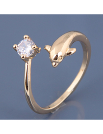 Fashion Gold Zircon Dolphin Open Ring