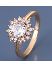Fashion Gold Inlaid Zircon Sun Flower Ring