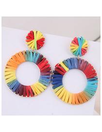 Fashion Color Metal Braided Earrings