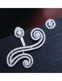 Fashion Silver 925 Silver Needle Copper Micro Inlaid Zircon Asymmetrical Earrings