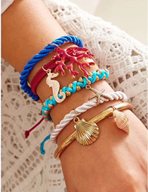 Fashion Color Contrast Shell Seashell Multi-layer Bracelet