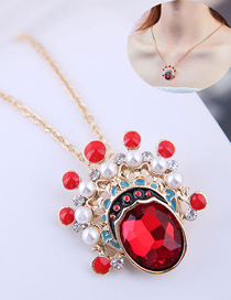 Fashion Red Metal Peking Opera Flower Mask Necklace