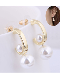 Fashion Gold 925 Silver Needle Pearl Stud Earrings