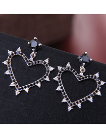 Fashion Silver Copper Micro Inlaid Zircon Love Earrings