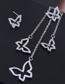 Fashion Silver Copper Micro-inlaid Zircon Butterfly Dance Asymmetric Earrings
