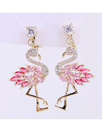 Fashion Gold Copper Micro-inlaid Zircon Swan Earrings