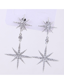 Fashion Silver Copper Micro-inlaid Zircon Sun Flower Earrings