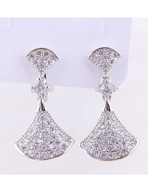 Fashion Silver Copper Micro Inlaid Zircon Size Shell Earrings