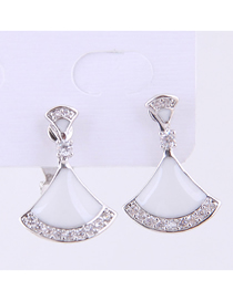 Fashion Silver Copper Micro-inlaid Zircon Shell-shaped Earrings