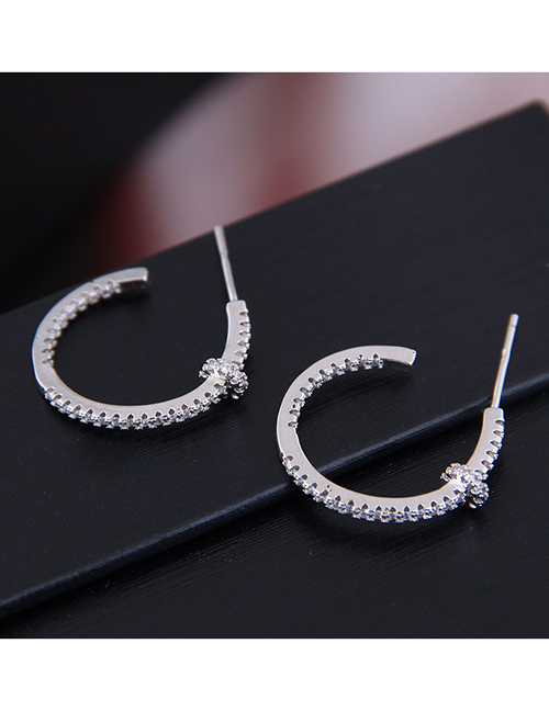 Fashion Silver Copper Micro Inlaid Zircon Earrings