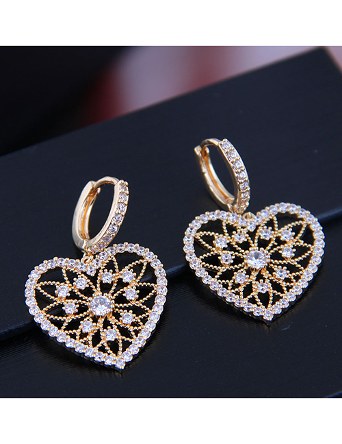 Fashion Gold Copper Micro Inlaid Zircon Shines Hollow Love Earrings