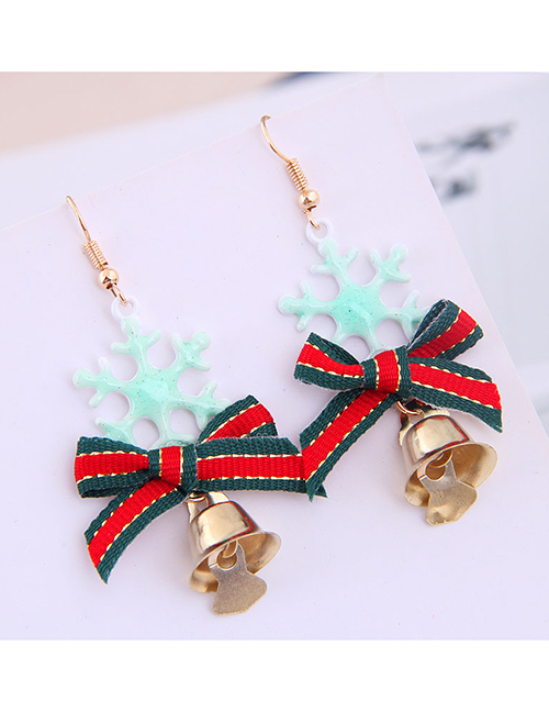 Fashion Green Snowflake Bow Bell Christmas Series Earrings
