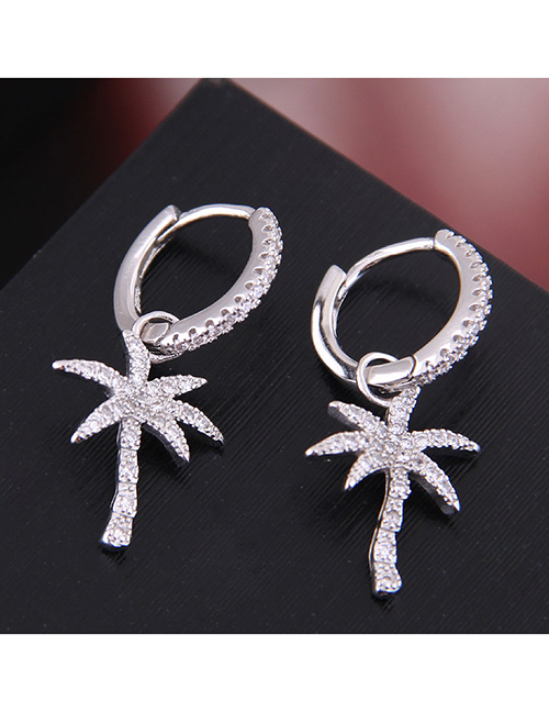 Fashion Silver Copper Micro-inlaid Zircon Banana Tree Stud Earrings