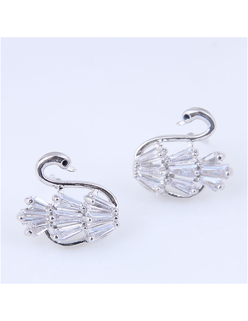 Fashion White Copper Micro Inlaid Zircon Swan Earrings