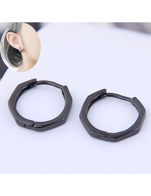 Fashion Black Sweet And Simple Polygonal Earrings
