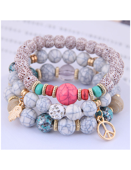 Fashion Gray Wooden Beads Multi-element Pendant Multi-layer Bracelet