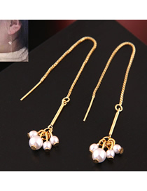 Fashion Gold Copper Plated Gold Pearl Stud Earrings