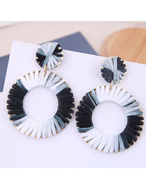 Fashion Black + White Metal Braided Earrings