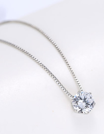 Fashion Silver Copper Plated Gold Zircon Necklace