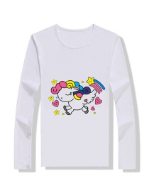 Fashion White Cartoon Print Children's T-shirt