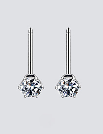Fashion Steel Color Zircon Stainless Steel Earrings