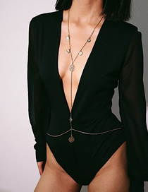 Fashion Gold Multi-layer Geometry Embossed Hollow Tassel Body Chain