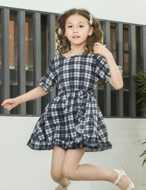 Fashion Black And White Square Plaid Dot Ruffled Children's Dress