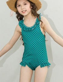 fashion green Ruffled swimming cartoon children's one-piece swimsuit