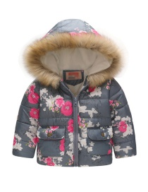 Fashion Gray Plum Blossom Printed Fur Collar Children's Hooded Cotton Coat