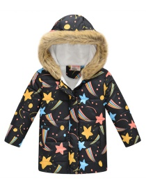 Fashion Black Starry Sky Cartoon Printed Thick Fur Collar Big Children's Cotton Jacket