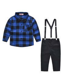 Fashion Blue Big Suit Plaid Shirt + Bib Children's 2 Piece Set To Send Bow Tie