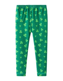 Fashion Green Lucky Grass Print Children's Leggings