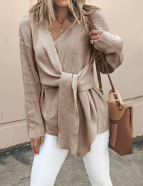 Fashion Khaki V-neck Tie Knit Sweater