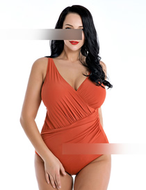 Fashion Orange Cross-piece Swimsuit