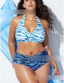 Fashion Blue Striped Gradient High Waist Bikini