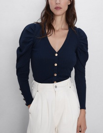 Fashion Navy Puff Sleeve Knit Jacket