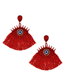 Fashion Red Alloy Studded Eye Tassel Earrings