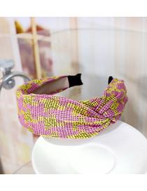 Fashion Pink Knit Side Twisted Headband Knitted Side Knotted Headband