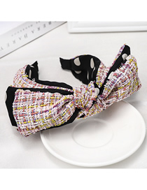 Fashion Pink Woolen Bow Headband Double-layered Bow Houndstooth Material Headband