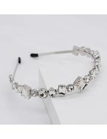 Fashion White Geometric Crystal Gemstone Headband