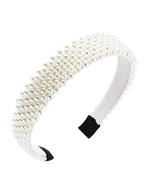 Fashion White Full Pearl Headband