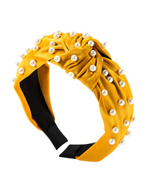 Fashion Yellow Cloth Knotted Pearl Hair Ring