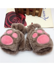 Fashion Brown Bear Paw Flip Half Finger Plush Gloves